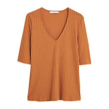 Buy Mango Ribbed V-Neck Top, Medium Brown Online at johnlewis.com