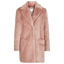 Buy Reiss Alba Faux Fur Coat, Warm Pink Online at johnlewis.com
