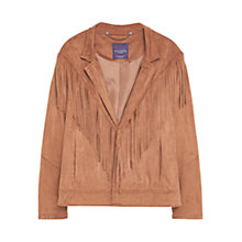 Buy Violeta by Mango Fringed Jacket, Dark Brown Online at johnlewis.com