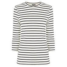 Buy Warehouse Stripe Crew Neck Top, White Online at johnlewis.com