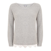 Buy Hygge by Mint Velvet Lace Hem Tunic, Silver Grey Online at johnlewis.com