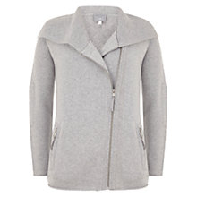 Buy Hygge by Mint Velvet Biker Knitted Cardigan, Silver Grey Online at johnlewis.com