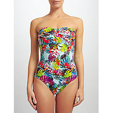 Buy John Lewis Mesquita Floral Bandeau Swimsuit, Turquoise/Multi Online at johnlewis.com