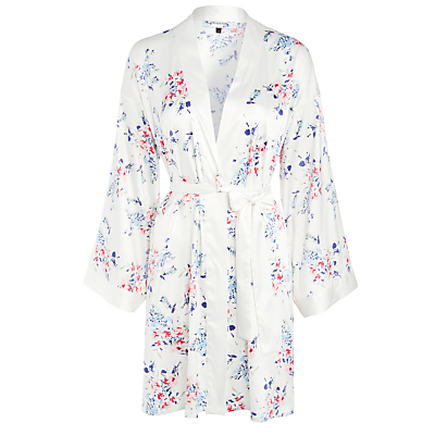John Lewis Satin Pastel Bloom Kimono, Ivory