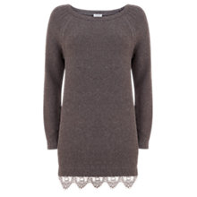 Buy Hygge by Mint Velvet Lace Hem Knitted Tunic, Granite Online at johnlewis.com