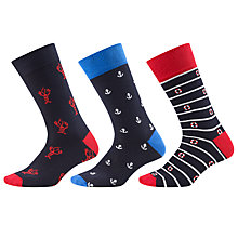 Buy John Lewis Seaside Print Socks, Pack of 3, Blue Online at johnlewis.com