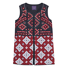 Buy Violeta by Mango Beaded Printed Vest, Dark Red Online at johnlewis.com