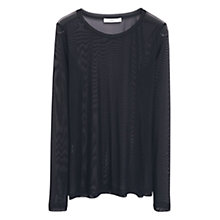 Buy Mango Mesh Design Top, Black Online at johnlewis.com