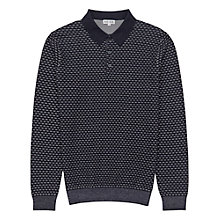 Buy Reiss Bianco Pattern Knitted Polo Top, Navy Online at johnlewis.com