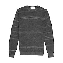 Buy Reiss Stripe Crew Neck Jumper, Off Black Online at johnlewis.com