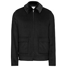 Buy Reiss Shine Wool Faux Fur Collar Jacket, Charcoal Online at johnlewis.com