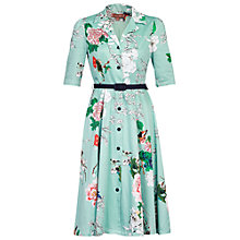 Buy Jolie Moi Belted Floral Print Shirt Dress, Aqua Online at johnlewis.com