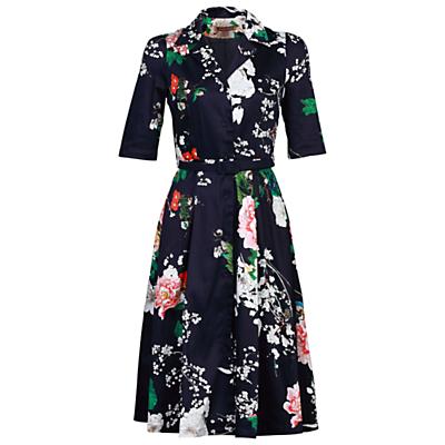 Jolie Moi Retro Belted Dress Blue £56.00 AT vintagedancer.com