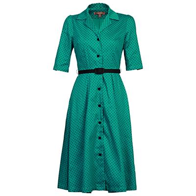 Jolie Moi Retro Belted Dress Green £56.00 AT vintagedancer.com