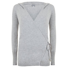Buy Hygge by Mint Velvet Hooded Wrap Knit Jumper, Silver Grey Online at johnlewis.com