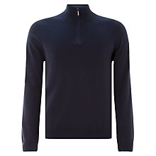 Buy John Lewis Cotton Cashmere Zip Neck Jumper, Navy Melange Online at johnlewis.com