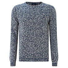 Buy John Lewis Moss Stitch Slub Crew Neck Jumper, Navy Online at johnlewis.com