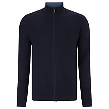 Buy John Lewis Cotton Cashmere Zip Through Jumper, Navy Melange Online at johnlewis.com