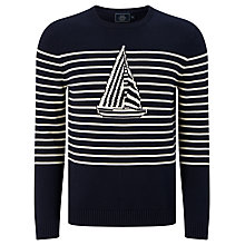 Buy John Lewis Jacquard Breton Stripe Yacht Jumper, Navy Online at johnlewis.com