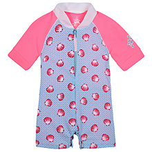 Buy Platypus Girls' Seashell Swimsuit, Blue/Pink Online at johnlewis.com