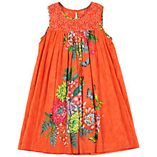 Buy Derhy Kids Girls' Floral Placement Dress, Orange Online at johnlewis.com