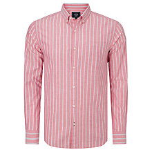 Buy John Lewis Long Sleeve Wide Stripe Oxford Shirt, Pink Online at johnlewis.com