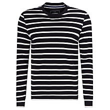 Buy John Lewis Stripe Organic Cotton Long Sleeve T-Shirt, Navy Online at johnlewis.com