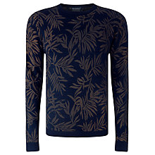 Buy JOHN LEWIS & Co. Leaf Print Crew Neck Jumper, Indigo Online at johnlewis.com