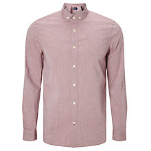 Buy JOHN LEWIS & Co. Dobby Penny Collar Shirt, Red Online at johnlewis.com