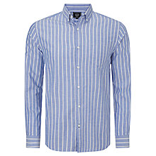Buy John Lewis Long Sleeve Wide Stripe Oxford Shirt, Cobalt Blue Online at johnlewis.com