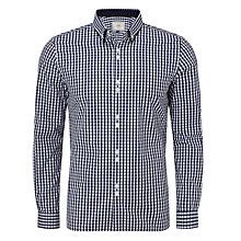 Buy John Lewis Gingham Long Sleeve Double Collar Shirt, Navy Online at johnlewis.com