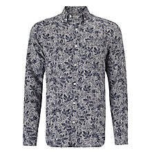 Buy John Lewis Passion Fruit Flower Long Sleeve Linen Shirt, Navy Online at johnlewis.com