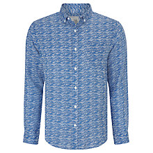 Buy John Lewis Wave Print Linen Shirt, Cobalt Blue Online at johnlewis.com