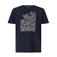 Buy John Lewis Placement Wave Organic Cotton T-Shirt, Navy Online at johnlewis.com