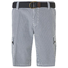 Buy John Lewis Belted Seersucker Cargo Shorts, Navy Online at johnlewis.com