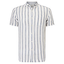 Buy John Lewis Fade Out Stripe Short Sleeve Linen Shirt, White Online at johnlewis.com