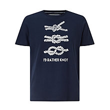 Buy John Lewis I'd Rather Knot Organic Cotton T-Shirt, Navy Online at johnlewis.com