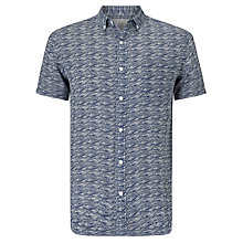 Buy John Lewis Wave Print Short Sleeve Linen Shirt, Navy Online at johnlewis.com