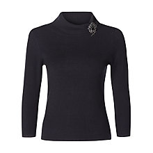 Buy Precis Petite Boucle Brooch Jumper, Black Online at johnlewis.com