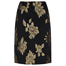 Buy Kaliko Rose Jacquard Pencil Skirt, Black Online at johnlewis.com