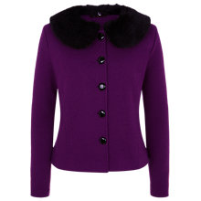 Buy Kaliko Faux Fur Collar Wool Jacket, Dark Purple Online at johnlewis.com