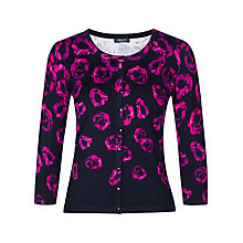 Buy Precis Petite Rose Print Cardigan, Black/Pink Online at johnlewis.com