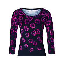 Buy Precis Petite Rose Print Jumper, Black/Pink Online at johnlewis.com