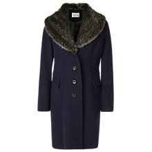 Buy Kaliko Vintage Faux Fur Collar Coat, Navy Online at johnlewis.com