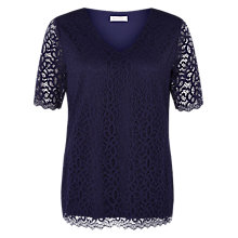 Buy Windsmoor Lace Jersey Top, Navy Online at johnlewis.com
