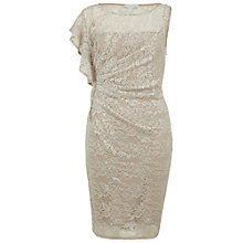 Buy Gina Bacconi Lace Ruffle Dress, Beige Online at johnlewis.com