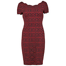 Buy Gina Bacconi Round Neck Geometric Lace Dress, Red/Black Online at johnlewis.com