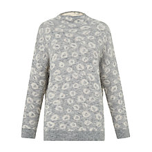 Buy Whistles Alpaca Blend Jacquard Jumper, Pale Grey Online at johnlewis.com