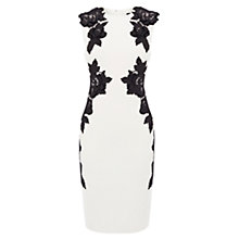 Buy Karen Millen Velvet Floral Applique Dress, Black / White Online at johnlewis.com