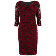 Buy Gina Bacconi Cowl Neck Geometric Lace Dress, Red/Black Online at johnlewis.com